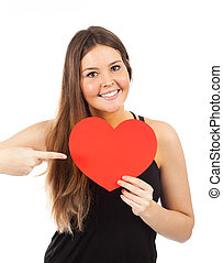 young woman in love with a heart in hand