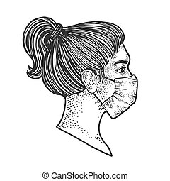 Young woman in medical surgical mask sketch engraving vector illustration. T-shirt apparel print design. Scratch board imitation. Black and white hand drawn image.