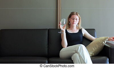 Young woman in modern interior.