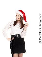 Young woman in office attire and red Santa Claus hat on white background