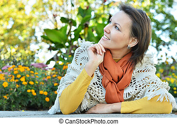 Young woman in park