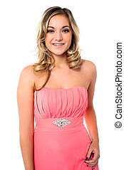 Young woman in party wear