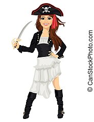 Young woman in pirate costume holding sword