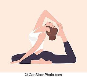 women silhouette flying pigeon yoga pose eka pada