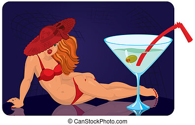 Young woman in red hat is lying near giant cocktail