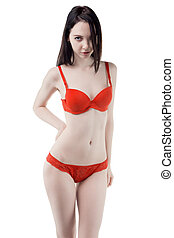 Young woman in red lingerie