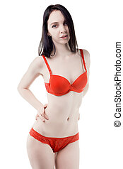 Young woman in red underwear