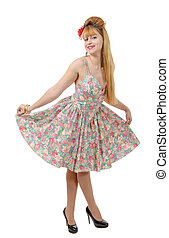 Young woman in retro floral dress