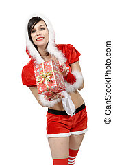 young woman in santa claus costume with gift