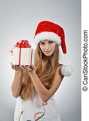 young woman in santa claus