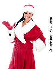 Young woman in santa clause costume. Isolated on white