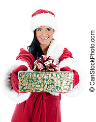 Young woman in santa costume with present. Isolated on white