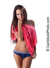 young woman in sexy bikini