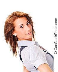 young woman in shirt over white