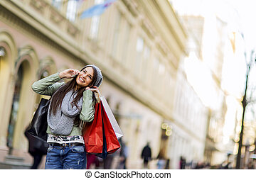Young woman in shopping