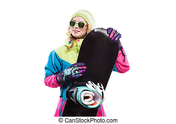 young woman in ski suit hold snowboard