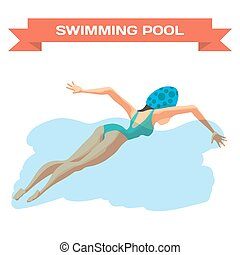 Young woman in sports swimsuit swims in the pool front...