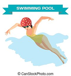 Young woman in sports swimsuit swims in the pool front butterfly style. Flat cartoon isolated vector illustration