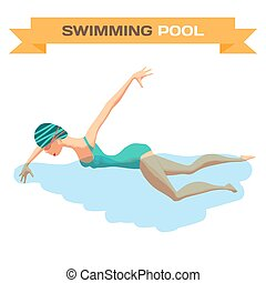 Young woman in sports swimsuit swims in the pool front crawl...