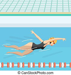 Young woman in sports swimsuit swims in the pool front crawl style. Flat cartoon vector illustration