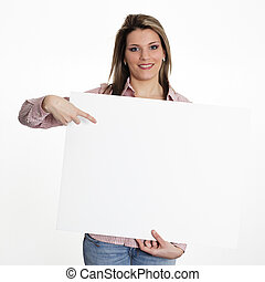 young woman in studio with white board