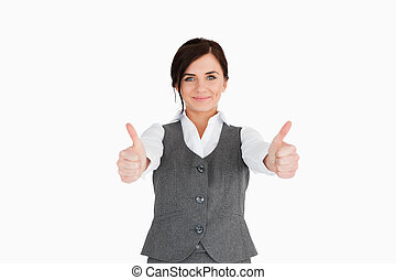 Young woman in suit the thumbs-up