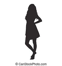 Young woman in summer dress standing barefoot, vector silhouette
