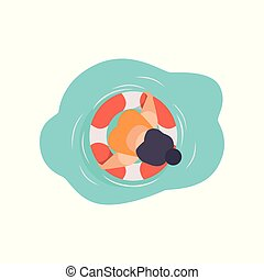 Young woman in sunglasses resting on floating inflatable ring, top view vector Illustration on a white background