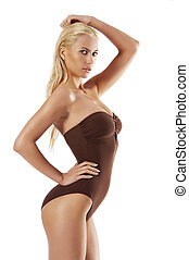 young woman in swimsuit - stunning blond young woman in...