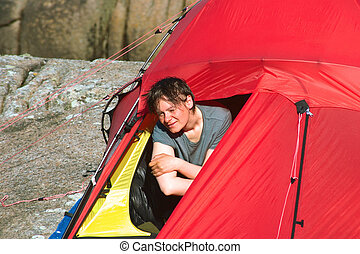 Young Woman in Tent