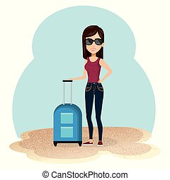 young woman in the beach with suitcase