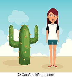 young woman in the desert character scene