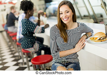 Young woman in the diner