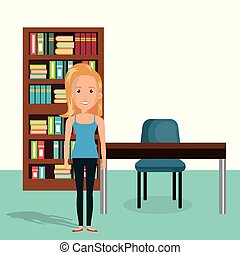 young woman in the library character scene