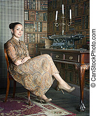young woman in the office-library