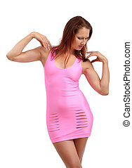 Young woman in the pink dress