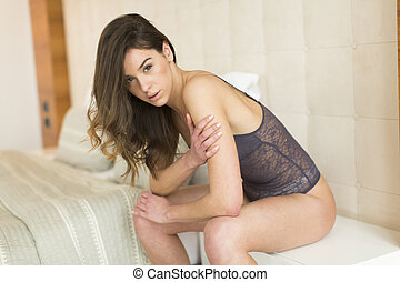 Young woman in the room