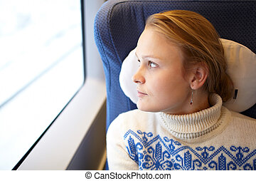 Young woman in the train.