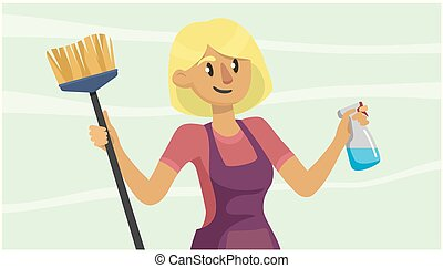 young woman in uniform cleans the house, holds a brush and detergent. portrait