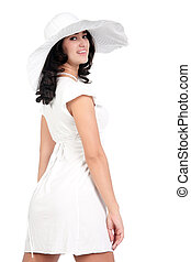 young woman in white dress and hat