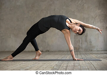Young woman in Wild Thing pose
