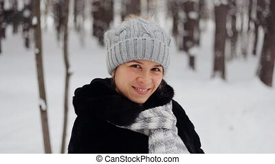 Young woman in wintertime outdoor - Attractive young woman...