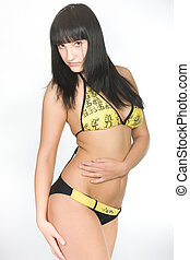 young woman in yellow lingerie
