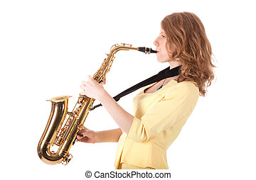 young woman in yellow playing the alto saxophone