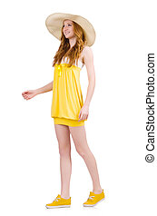 Young woman in yellow summer dress isolated on white