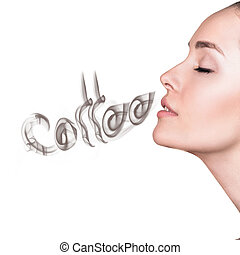 Young woman inhaling coffee aroma.