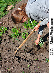 Young woman is engaged in weeding the garden. Agriculture