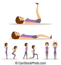 Young woman is exercising at home fitness character workout healthy living and diet concept vector illustration.