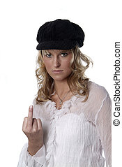 young woman is mad - a young woman with a black cap gives a...