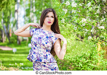 Young woman is posing